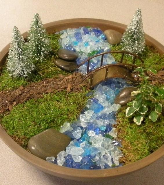 creek and bridge mini garden