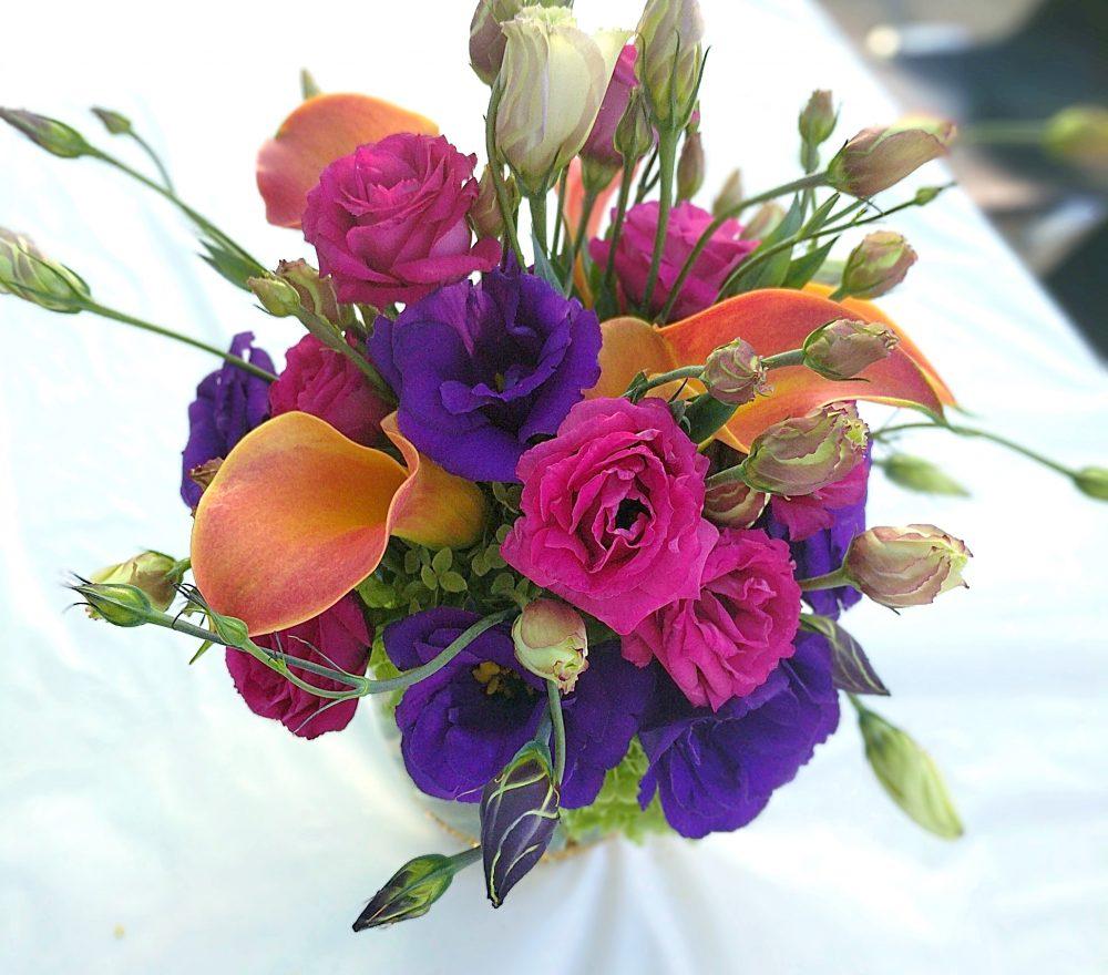 pink, purple, and orange arrangement