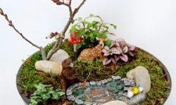 mini garden with deer