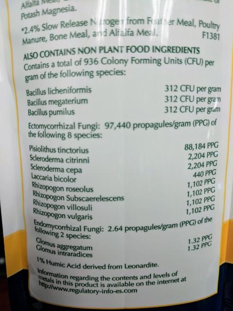 biotone bacteria and fungi content label