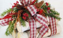 birch log decoration holiday