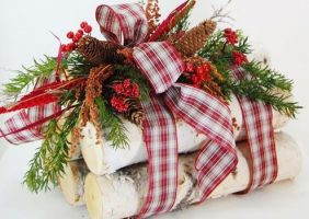 birch log decoration holiday