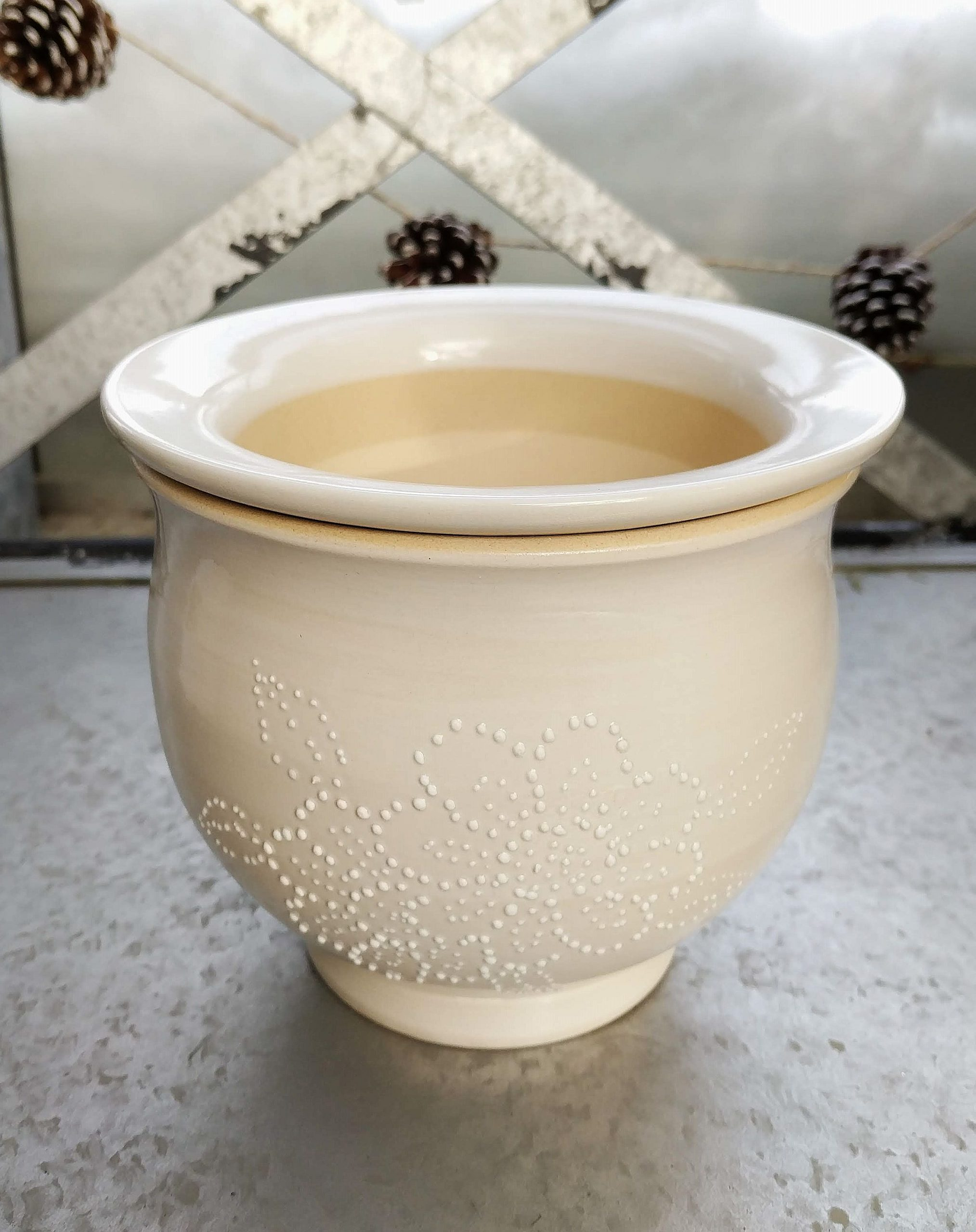 white self-watering plant pot