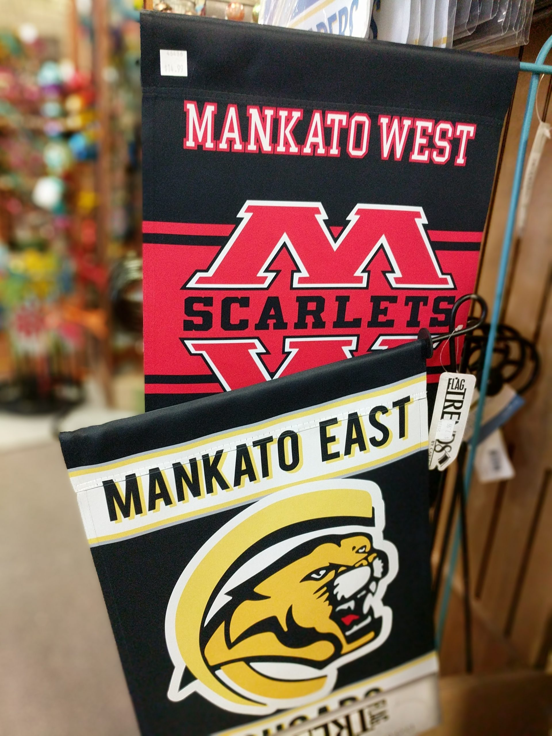 mankato west and mankato east yard flags