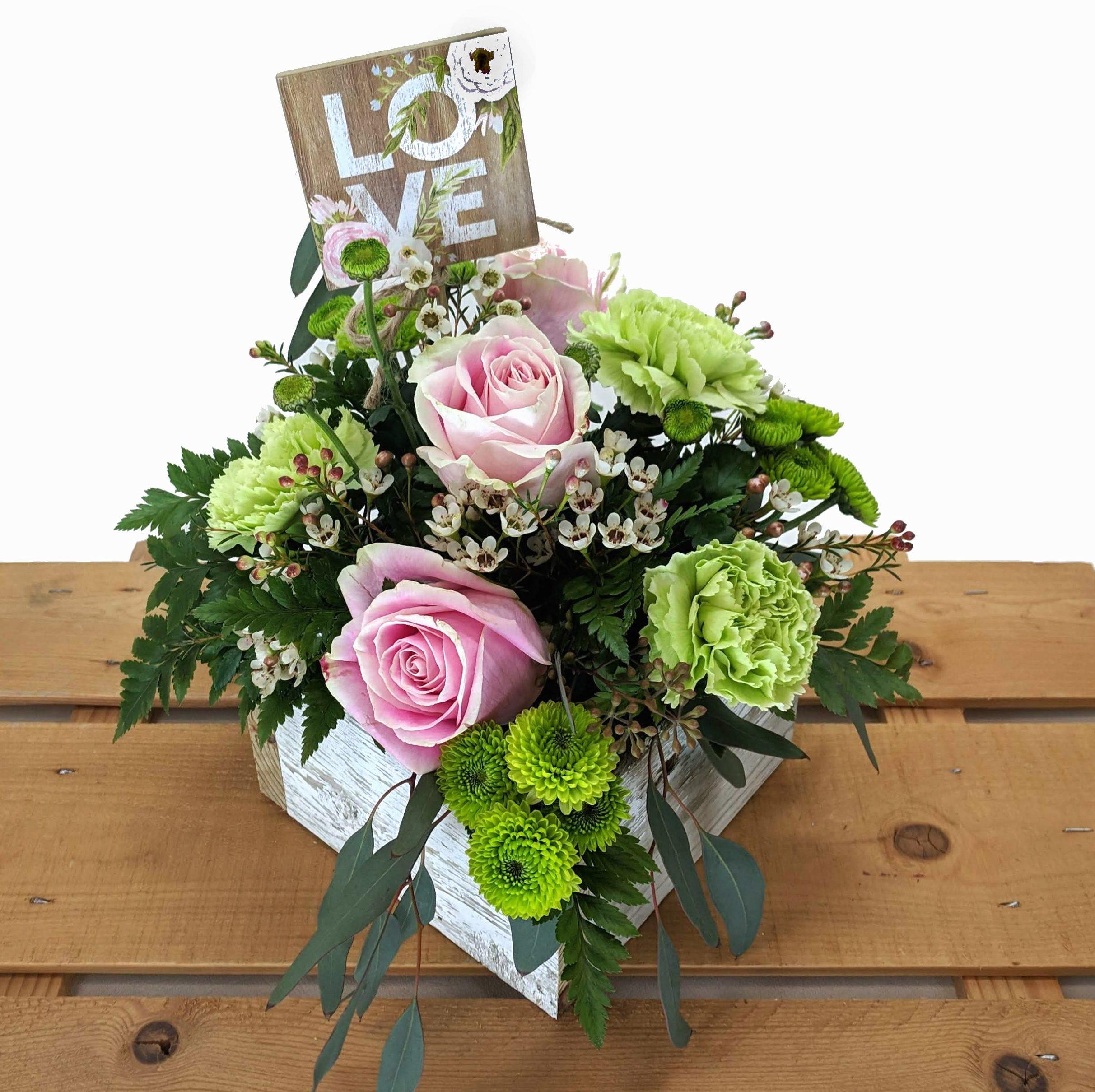valentine's day arrangement in distressed wooden box