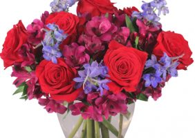 Red roses, with burgundy alstroemeria, and bright blue of delphinium