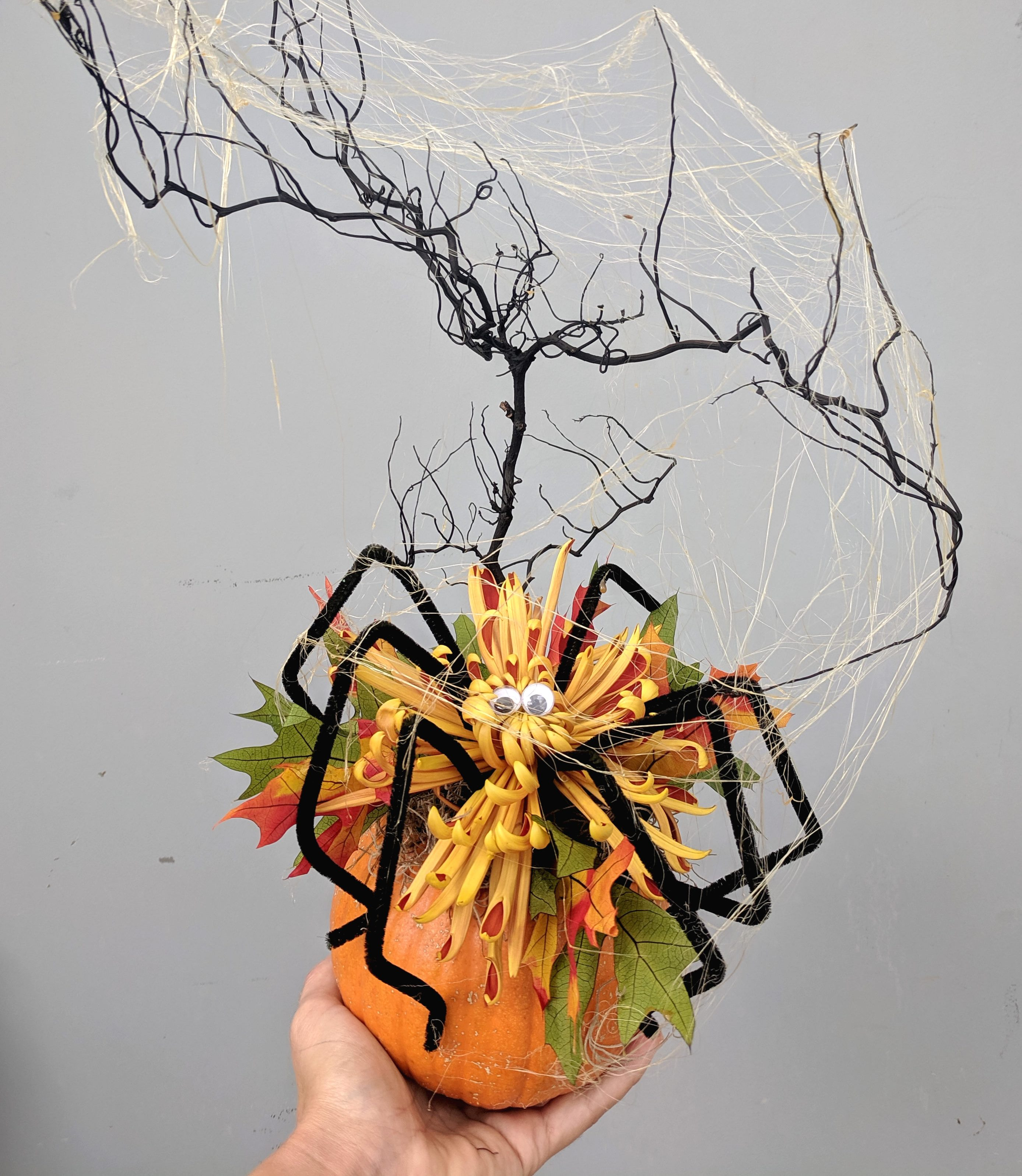 a spider made of a mum on top of a pie pumpkin with black twigs and spider web.