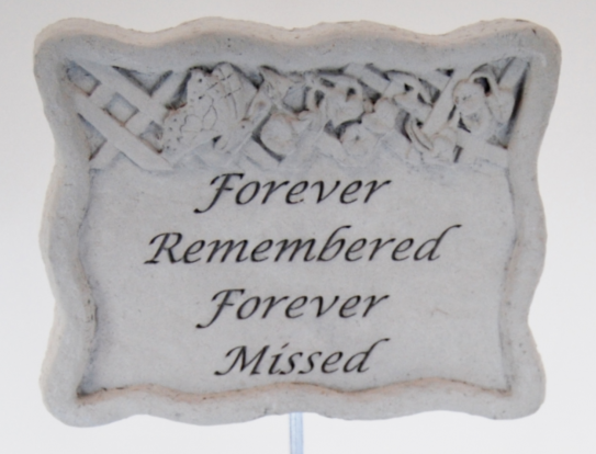 "7.5""x6"" Stone Marker with Forever Remembered saying"