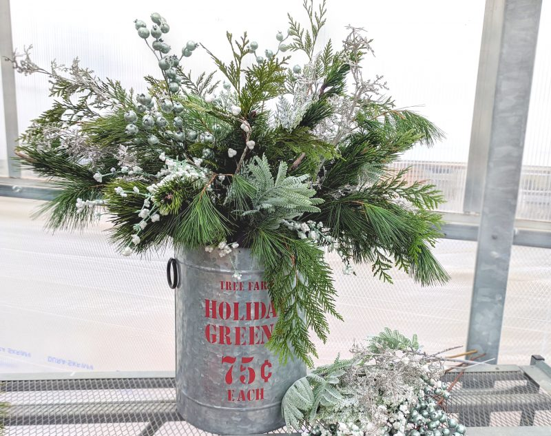 frosted glitz evergreen container