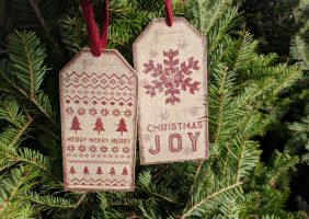 WOODEN sparkly ornament with JOY and christmas patterns