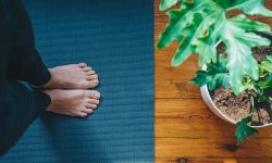 person standing on yoga mat with houseplant