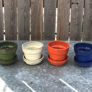 """color glazed 4"""" ceramic pots"""