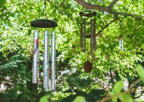 windchimes hanging in a tree